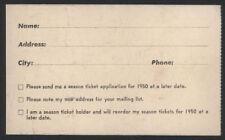 1950 San Francisco 49ers Ticket Appl Card - 1st Yr NFL!