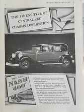 1929 New Nash 400 Car Centralized Chassis Lubrication Original Ad