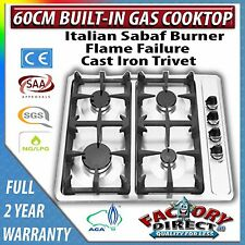 60cm Built-in Gas Cooktop Italian Sabaf Burner Cast Iron Trivot 2 Year Warranty!