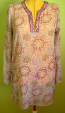 Ladies Womens Pink Floral Chiffon Tunic Long Top Blouse Long Sleeve PTO Size L