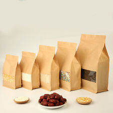 Kraft Paper Stand Up Bags Self Seal Bag With Matte Window Food Grade Pouches