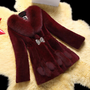Womens Winter Luxury Faux Fox Fur Coat Soft Warm Thick Jacket Slim Outerwear New