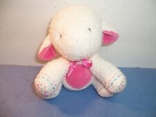 "CARTERS WHITE LAMB RATTLE - PINK TUMMY & FLOWERS - BABY LOVEY TOY  6"" - VGC"