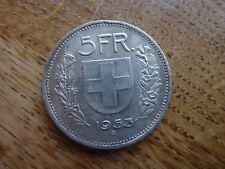 1953 Switzerland Silver 5 Franc/Franken Coin