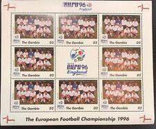 Gambia '96 Euro England Football Championship Stamp- England Sheetlet of 9