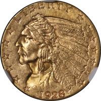 1928 Indian Gold $2.50 NGC MS62 Great Eye Appeal Nice Strike