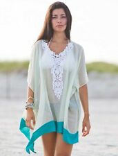 New Summer Kaftan Aqua Embroidered Neckline Beach Cover up Long Shirt Top 8-12