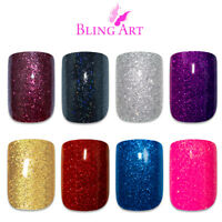 Bling Art False Nails Black Red Blue Pink Maroon Purple Gold Gel Fake Medium Tip