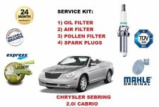 FOR CHRYSLER SEBRING 2.0 CABRIO 2008-> OIL AIR POLLEN FILTER + PLUGS SERVICE KIT