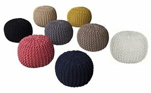 Knitted Pouffe Footstool Cotton Hand Braided Dori,40 x 40 x 30 cm - 8 Colours