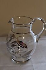 Vintage Bohemia Crystal Czech Pitcher Etched Glass w/ Silver 25th Anniversary