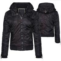 Veste d'HIVER pour hommes avec capuche doublé chaud bomber S-XXL H101