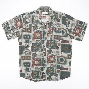 SKYLINE  Green 00s Short Sleeve Crazy Shirt Mens L