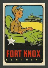 "VINTAGE ORIGINAL 1948 TANK SOUVENIR ""FORT KNOX"" KENTUCKY TRAVEL WATER DECAL ART"