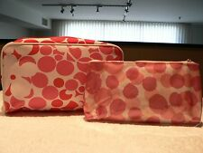 Clinique 2 Makeup Cosmetic Bags ~ New ~ Bright Pink & White Print