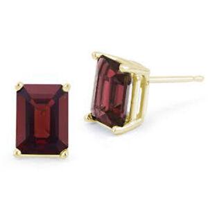 Earrings Garnet 9ct Gold Emerald Cut Claw Set Stud Earrings
