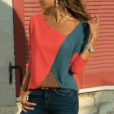 Womens Patchwork Long Sleeve T-Shirt Summer Holiday Loose Blouse Tops Plus Size