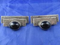 VINTAGE STERLING SILVER RECTANGLE SHAPED ONYX CLIP EARRINGS