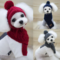 Pet Clothes Apparel Outfit Hand-Knit Hat and Collar Scarf for Small Dog