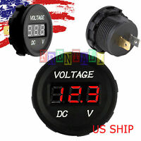 Red LED Digital Waterproof Voltmeter Gauge Meter 12V-24V Car Auto Motorcycle