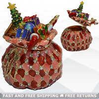 Xmas Gift Bag Trinket Box with Hinged Lid Enamel Jeweled Crystals Decor Ornament