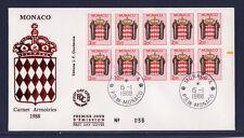 MONACO   enveloppe 1er jour   armoiries  le carnet  1988