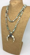 Fashion long knot Amazonite Hematite Crystal Rhinestone Resin ox horn pendant