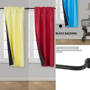 "2PC ENERGY EFFICIENT ULTIMATE BLACK LINER BLACKOUT WINDOW CURTAIN PANEL 36""LENGH"