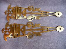 Antique Pair Pierced Brass Cabinet Door Hinges Polished Architectural hardware