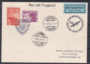 Flugpostkarte Wien - Salzburg mit Sonderstempel gel. 14.IX.35