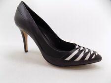 WHBM Shoes 8.5M Black White Leather Scarlett Pointy Toe Pump Heel Women's NEW
