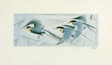 FRITZ NEUMANN (AKA RIC) SIGNED Vtg c1960s Color Etching THREE BIRDS IN FLIGHT