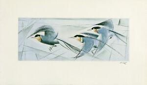 FRITZ NEUMANN (AKA RIC) SIGNED Vtg c1960s Color Etching THREE BIRDS IN FLIGHT