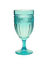"Set 6 pcs 7"" Acrylic Cyan Blue Patio Outdoor Wine Drink Goblets Glasses 13Oz"