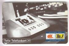 EUROPE  TELECARTE / PHONECARD .. SUEDE 30MK SC7 AUTO TAXI 06/95 C56151013 PUCE