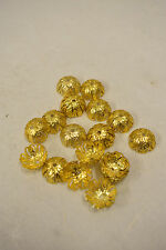 Beads Bright Gold Plated Fluted Bead Caps 20 lot