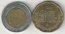 2 COINS from MEXICO - 50 CENTAVOS & BI-METAL 1 PESO (BOTH DATING 2006)