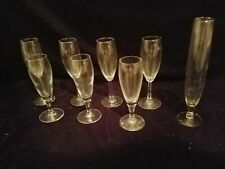 """Eight Fluted Champagne Glasses 3- 7.5"""", 4- 8.5"""" and 1- 10.5"""" Tall"""