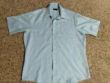 Vintage JcPenney Mens 16 L No Iron Baby Blue Short Sleeve Button Dress Shirt