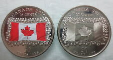 2015 CANADA 25¢ FLAG COLOURED AND NON COLOURED COINS