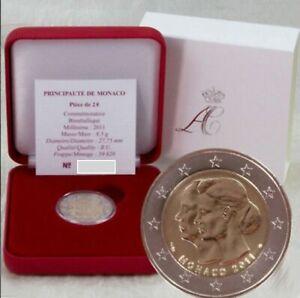 Pièce de 2€ de 2011 Mariage princier à Monaco en coffret luxe 59820 ex.