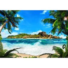 Vlies Fototapete 3D Strand Meer Palmen Tapete Wandbilder XXL Wandtapete