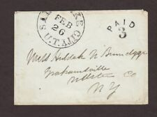Utah Territory: Salt Lake City 1850s Stampless Cover, Black CDS & PAID 3 in Arc