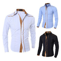 Fashion Mens Tops Luxury Casual Stylish Slim Fit Long Sleeve Casual Dress Shirts