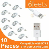 10x 6ft 8 Pin USB Data Sync Charger Cable Cord for iPhone 5S 6 iPod Touch iOS 8