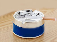 D04 Blue Mini Portable Outdoor Travel Stainless Steel Circle Ashtray 4.8CM