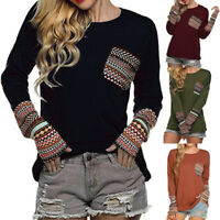 Women's Long Sleeve T-shirt Blouse Casual Loose Tops Sweatshirt Pullover xdfh