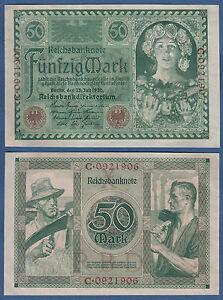 50 Mark 1920  KASSENFRISCH / UNC  Ro.66 / P.68
