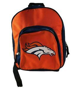 """NFL Denver Broncos Adjustable Strap Backpack 2 zipper Pockets Orange Blue 12""""X9"""""""