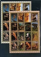 AJMAN 1973 WILD ANIMALS 2 SHEETS OF 16 STAMPS PERF. & IMPERF MNH